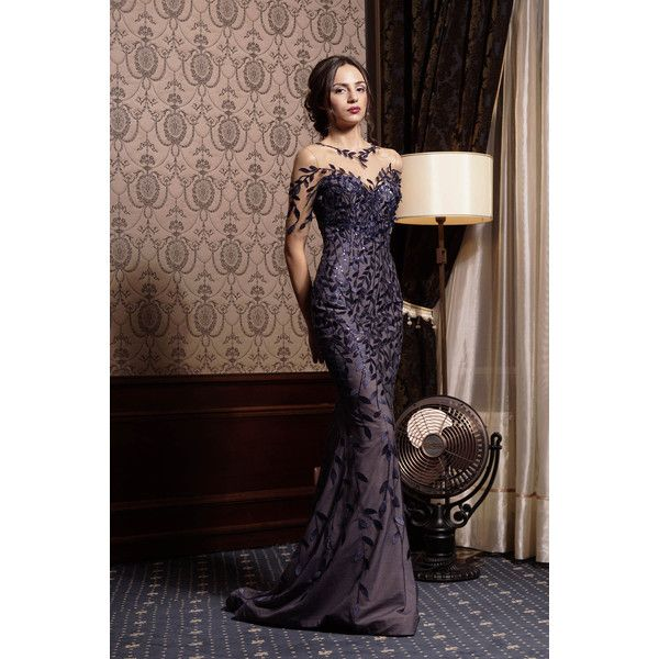 Sequin prom navy blue dress Open back Long illusion neckline dress... ($780) ❤ liked on Polyvore featuring dresses, long navy dress, long floral dresses, formal prom dresses, navy blue formal dress and sequin prom dresses