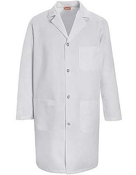 Style Code: (RE-KT34) A 39-inch long lab coat for men is featured by Red Kap. It is an all white lab coat with long set-in sleeves, one-piece notched lapel collar, and pre-cure durable finish. It is also designed with four non-yellowing UV buttons in front for easy closure and functional pocket that serve as storage of your essential items. Moreover, it has sewn-on back belt and pleats to enhance its classic styling.