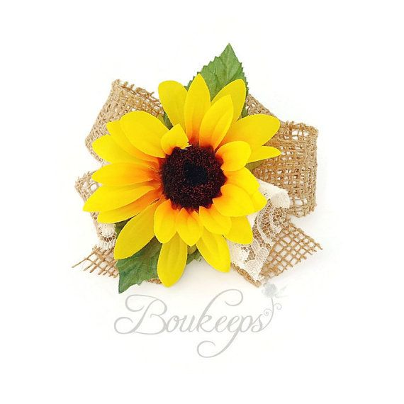 Sunflower Corsage with Burlap Bow and Ivory Lace by Boukeeps