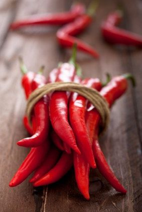 Red Chillis - Red is a colour used mainly to establish a feeling of warmth and heat, and is the colour highest on the scale for colour temperature.