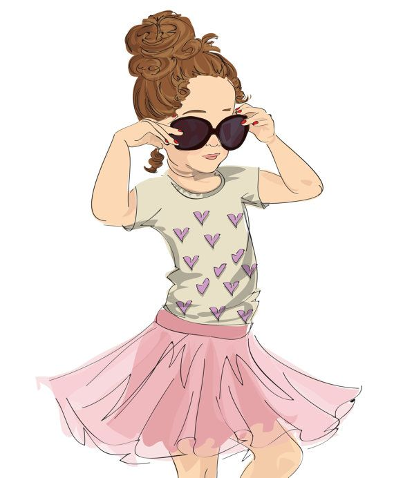 Childrenu0026#39;s Fashion Illustration Print With A Little Girl Playing Dress Up In Her Momu0026#39;s Glittery ...