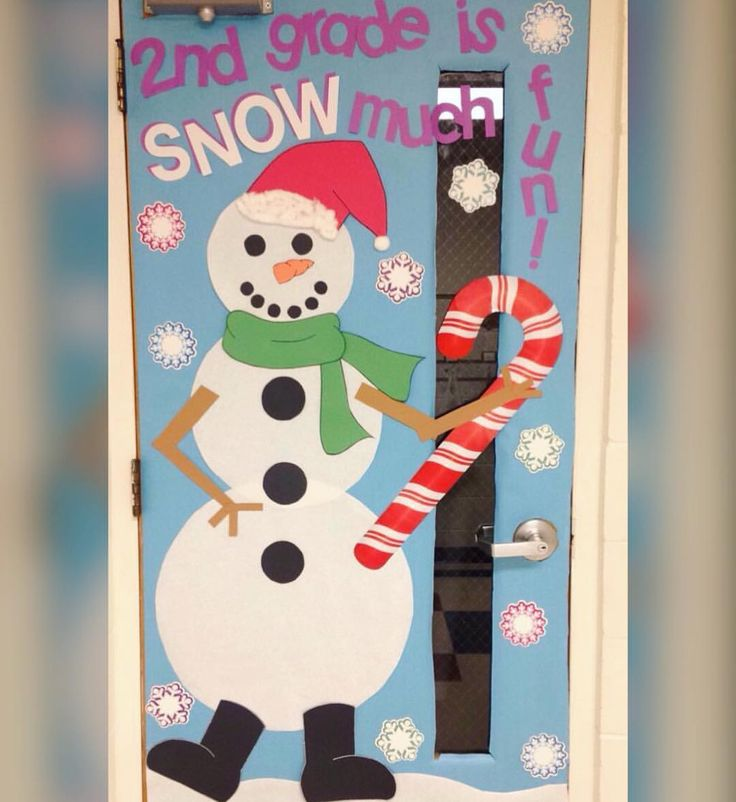 Winter classroom door. Snowman door. Second grade door decoration. 2nd grade is snow much fun. Santa hat and candy cane can be switched out for top had and a broom to make him Frosty.
