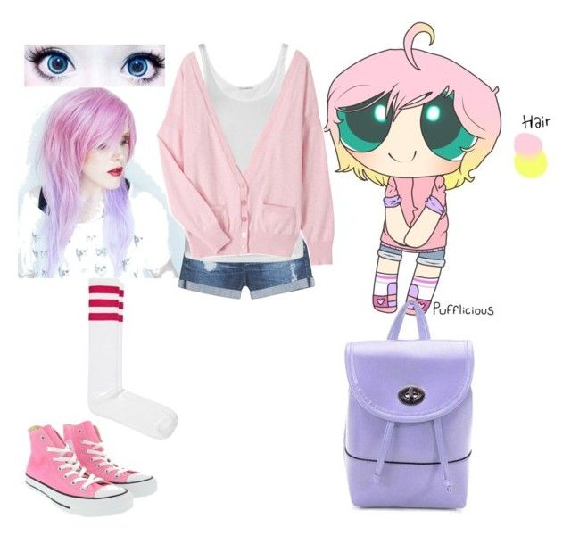 """""""Ppg OC cosplay"""" by katiegirlhere on Polyvore featuring AG Adriano Goldschmied, James Perse, Converse and American Apparel"""