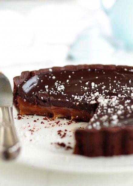 {Dark chocolate salted caramel tart.}