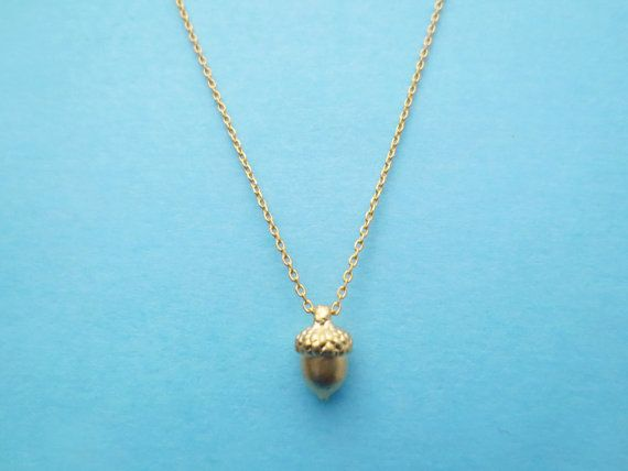 Tiny Acorn Necklace Gold Cute Necklace For Gift Pretty by Solistar, $16.80