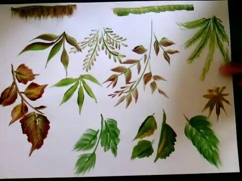 single brush:10 types of leaves, onestroke Acrylic painting