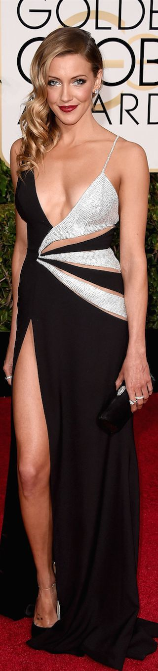 ON THE RED CARPET  via LOLO repin by BellaDonna *updated * Katie Cassidy 2015 Golden Globe Awards