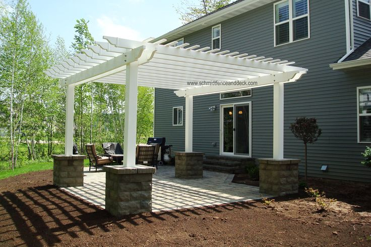 white vinyl pergola with concrete columns vinyl pergolas. Black Bedroom Furniture Sets. Home Design Ideas