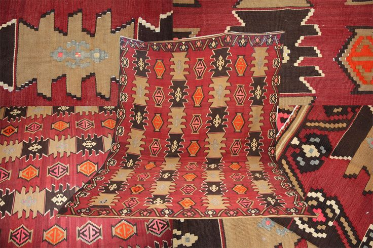 """This handmade wool room size Turkish Kilim brings about the geometric design and deep colours at their best. Measuring 303cmx223cm (9'9""""x7'3""""), it has remained in immaculate condition throughout"""