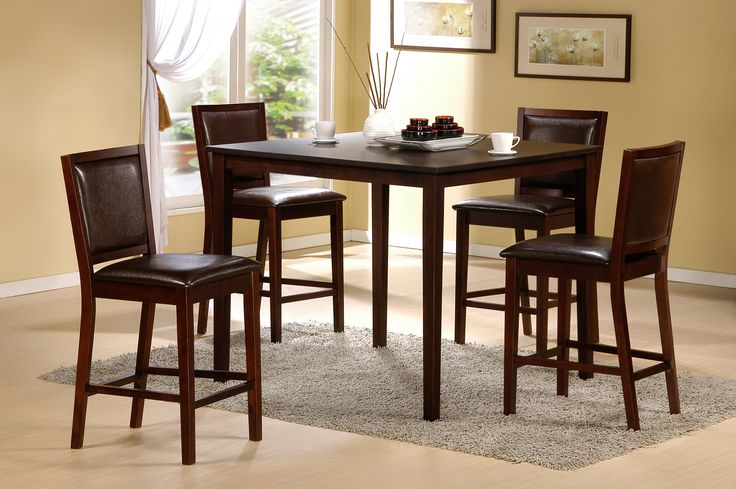 Roundhill Furniture Square Counter Height Table And 4 Stools Set, Espresso  Finish Part 82