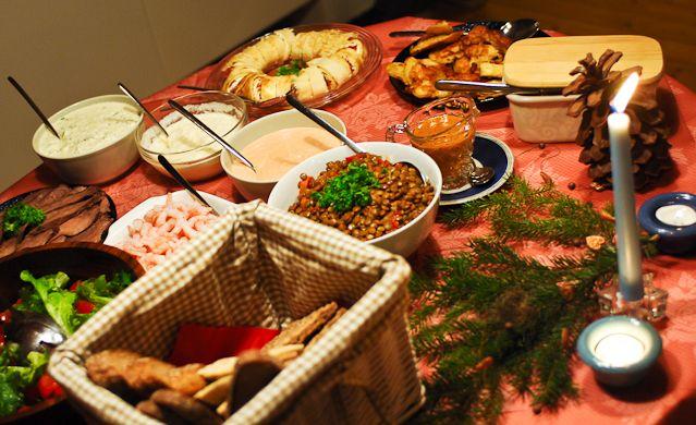 hirvipirtit lapland cabins, Taivalkoski Finland, starter buffet at christmas dinner