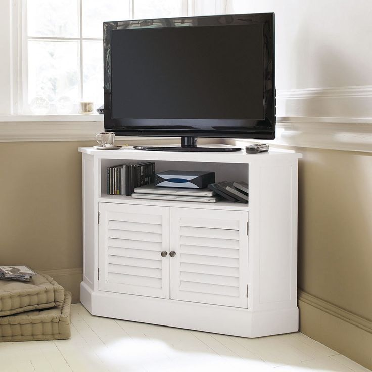 Small space, useful corners | Wooden corner TV unit in white W 75cm Barbade | Maisons du Monde