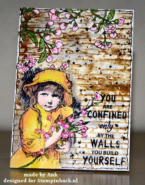 STAMPINBACK.NL rubber stamps: Meisje met bloemen