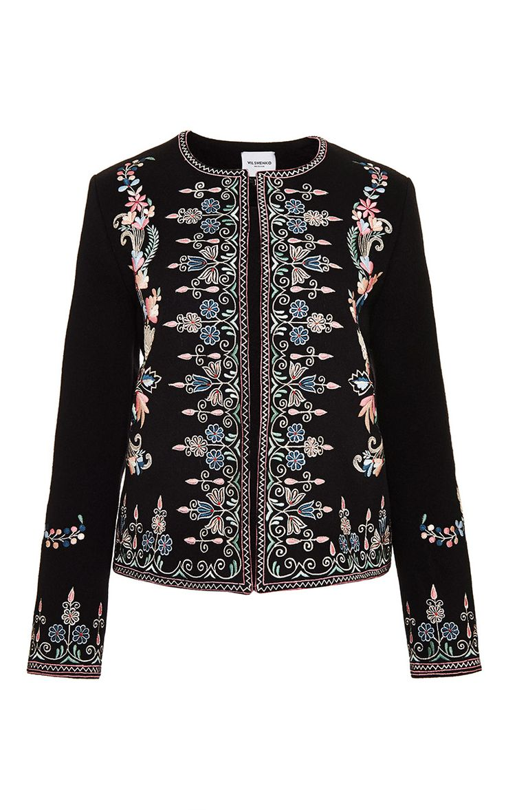 Sofia Jacket Coating All Over Embroidered Jacket by Vilshenko