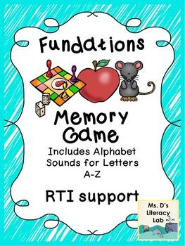 This is a Fundations Inspired Memory Game for your K-1 students who are still working on phonemic awareness.  This set was updated on 1/27/2015.  The colorful graphics in this set will grab your students attention easily. The graphics as closely mirror the graphics on the Wilson Fundations cards for K-1.