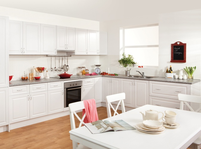 Get the look - provincial white cabinets in heritage profile with marble benchtop... +kaboodle