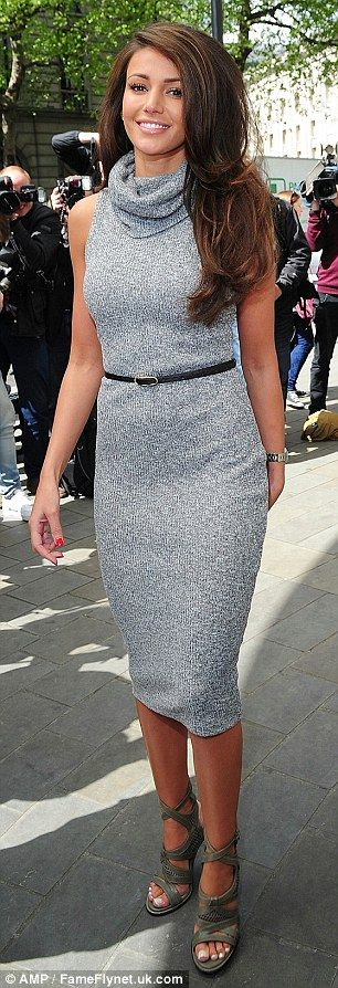 Michelle Keegan in grey dress as she promotes fashion collection for Lipsy | Daily Mail Online