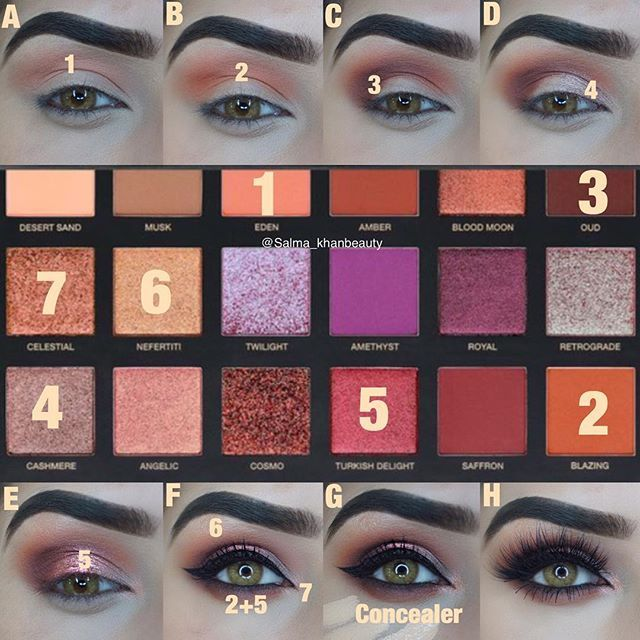 Step by step pictorial Motd deets- more looks to come with the #desertduskpalette @hudabeauty @shophudabeauty desertdusk palette eyeshadows in celestial, Nefertiti, blazing, oud, Eden, Turkish delight, cashmere & eyelashes In Farah @anastasiabeverlyhills dipbrow pomade in medium brown @motivescosmetics fibre lush mascara @morphebrushes gel liner in slate @tartecosmetics shape tape concealer in light medium @yamicolor lenses in queen brown use code salma_khanbeauty for money off . . ....