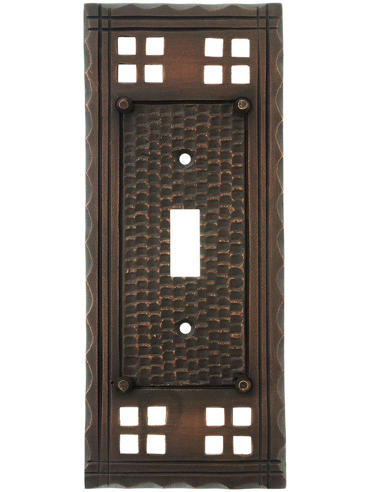 Arts and crafts toggle switch plate in oil rubbed bronze for Arts and crafts hardware