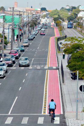 New Bicycle lane in Curitiba,Brazil. Marechal Floriano street. Can't miss this one!