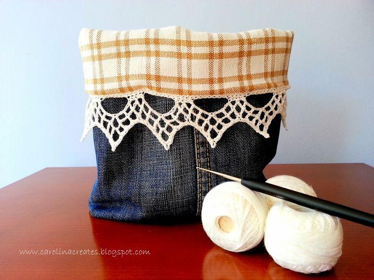 Carolina Creates Upcycled denim basket with crochet border