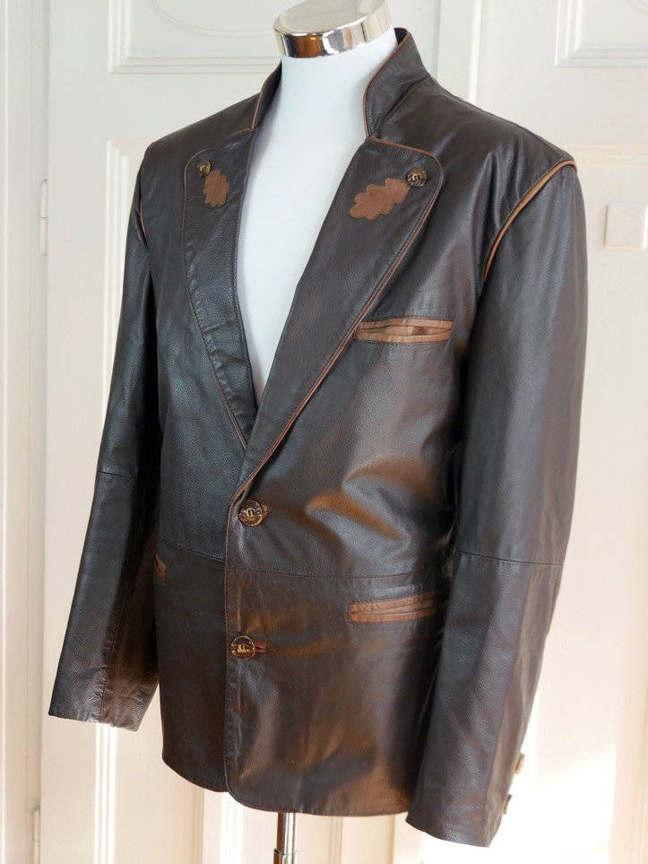 German Vintage Trachten Leather Jacket, Brown Traditional Bavarian Leather Jacket w Faux Antler Buttons, Octoberfest Jacket: Size 42 US/UK by YouLookAmazing on Etsy
