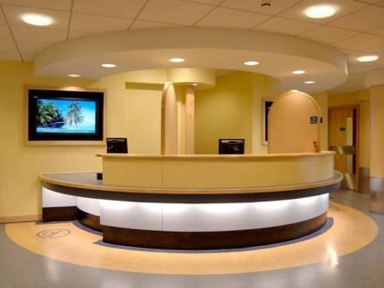 Reception desk at Hinchingbrooke NHS Trust
