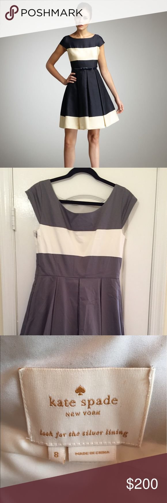 Kate Spade Cap Sleeve Gray and White Striped Dress Size 8 Kate Spade Cap Sleeve Gray and White Striped Dress! Great condition, though could use a run under the iron!  Perfect for work or a fun weekend day!  Barely worn and in great condition. Belt not included. kate spade Dresses