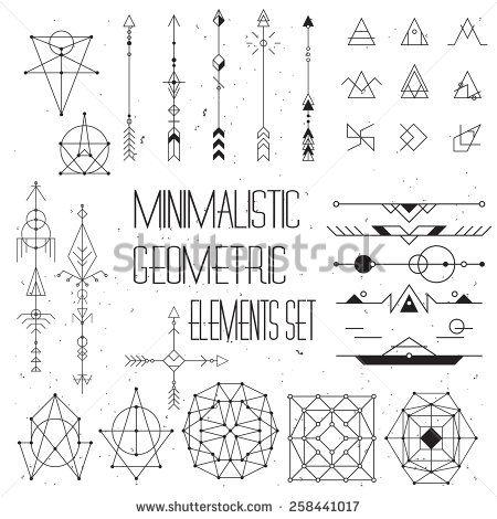 Big set of vector minimalism/geometry/hipster design elements - stock vector もっと見る