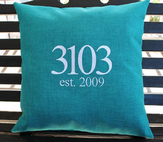 House Number Outdoor Pillow Cover In Teal By DesignsByThem