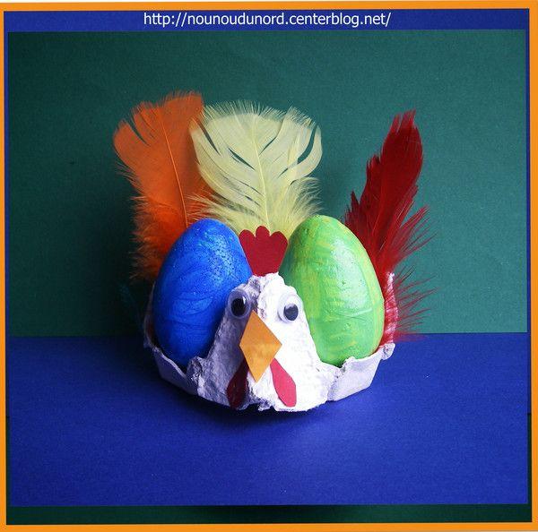 Poule réalisée par Gaspard avec une boîte à oeufs, explications sur mon blog