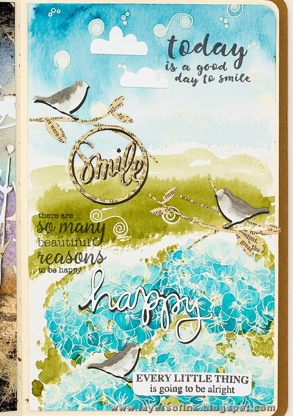 Layers of ink - Hydrangea Art Journal Page by Anna-Karin, made for the Simon…