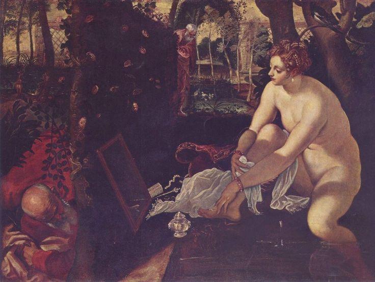 Jacopo Tintoretto.  Susanna im Bade. 2. Hälfte 16. Jh., Öl auf Leinwand, 147 × 194 cm. Wien, Kunsthistorisches Museum. Venezianische Schule. Italien. Manierismus.  KO 00917