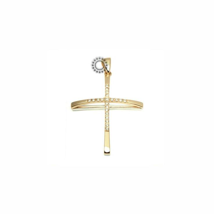 Ένας λεπτός και μοντέρνος σταυρός γυναικείος ή βαπτιστικός από χρυσό Κ18 με σειρέ από Brilliants σε υπερυψωμένη καμπύλη και επίπεδη λευκόχρυση πίσω όψη.