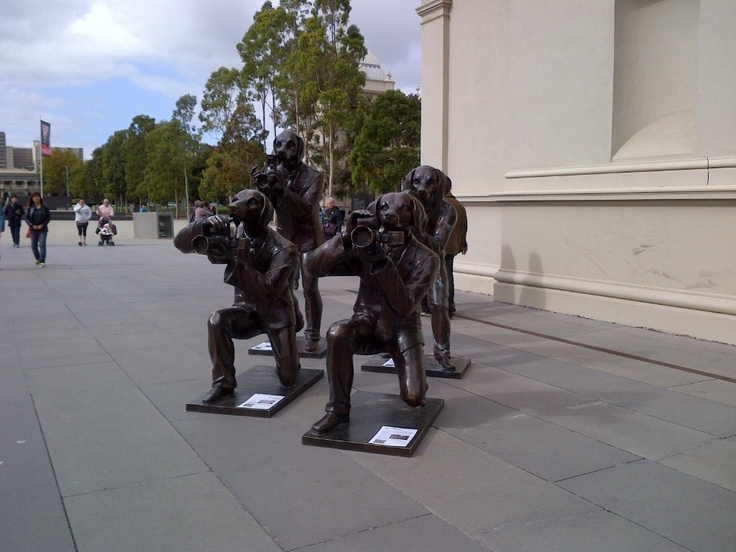 Dog sculptures outside the Dog Lovers Show Melbourne Exhibition Centre