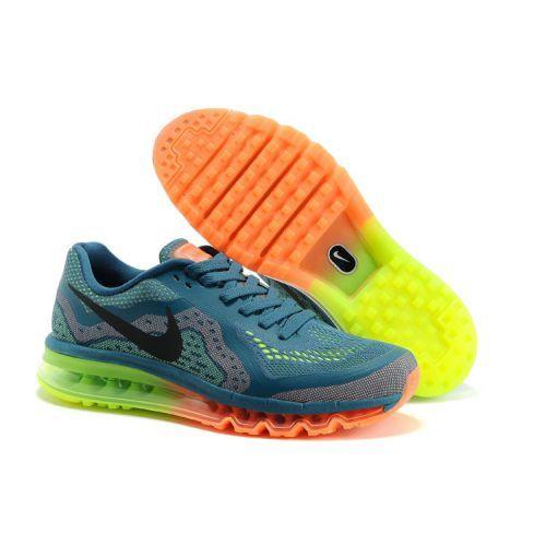 Only $85.99 plus Free Shipping! Nike Air Max 2014 Mesh CadetBlue Black  Orange Green Mens