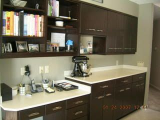 espresso cabinets with white countertop