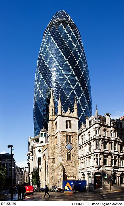 DP158425 General view of 30 Mary Axe, popularly known as 'The Gherkin', from the…