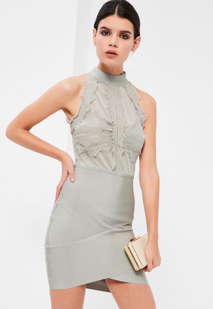 Missguided - Grey Bandage and Lace Bodycon Dress