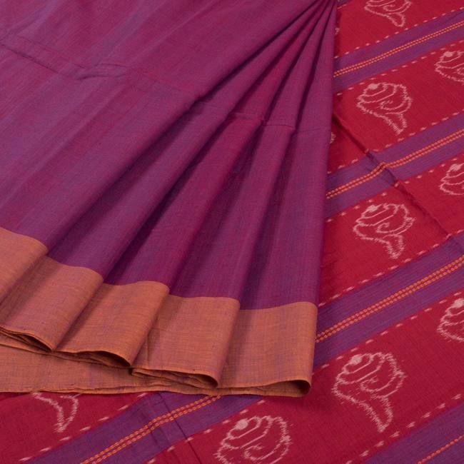 Buy online Handwoven Purple Bandha Ikat Cotton Saree 10015320