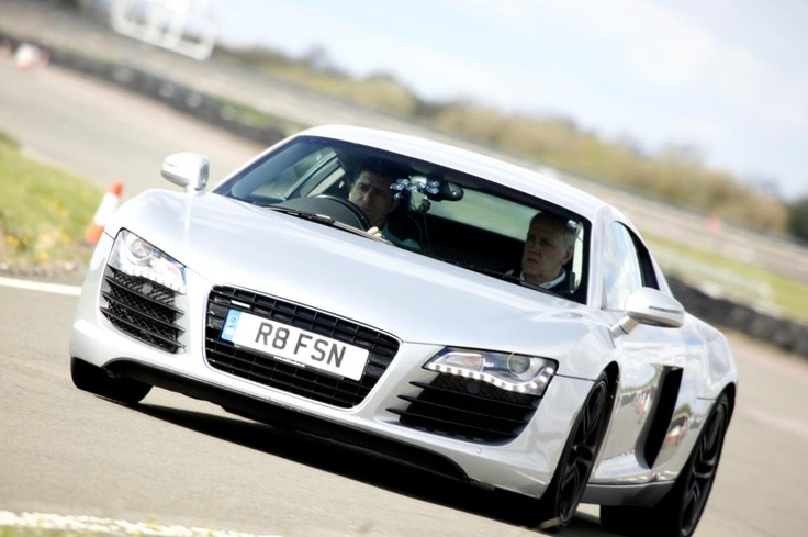 Test driving an Audi R8 supercharged.