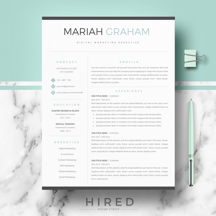Pages Resume Templates 257 Best Resume Template For Word & Pages Images On Pinterest