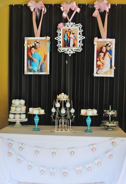 Dessert table at a Baby Shower!  See more party ideas at CatchMyParty.com!  #partyideas #babyshower