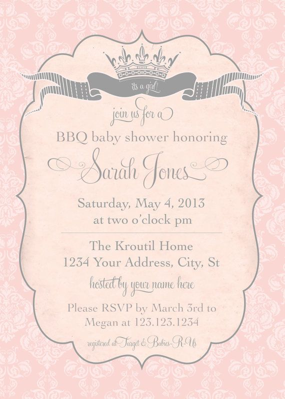 118 best images about princess baby shower on pinterest | baby, Baby shower invitations