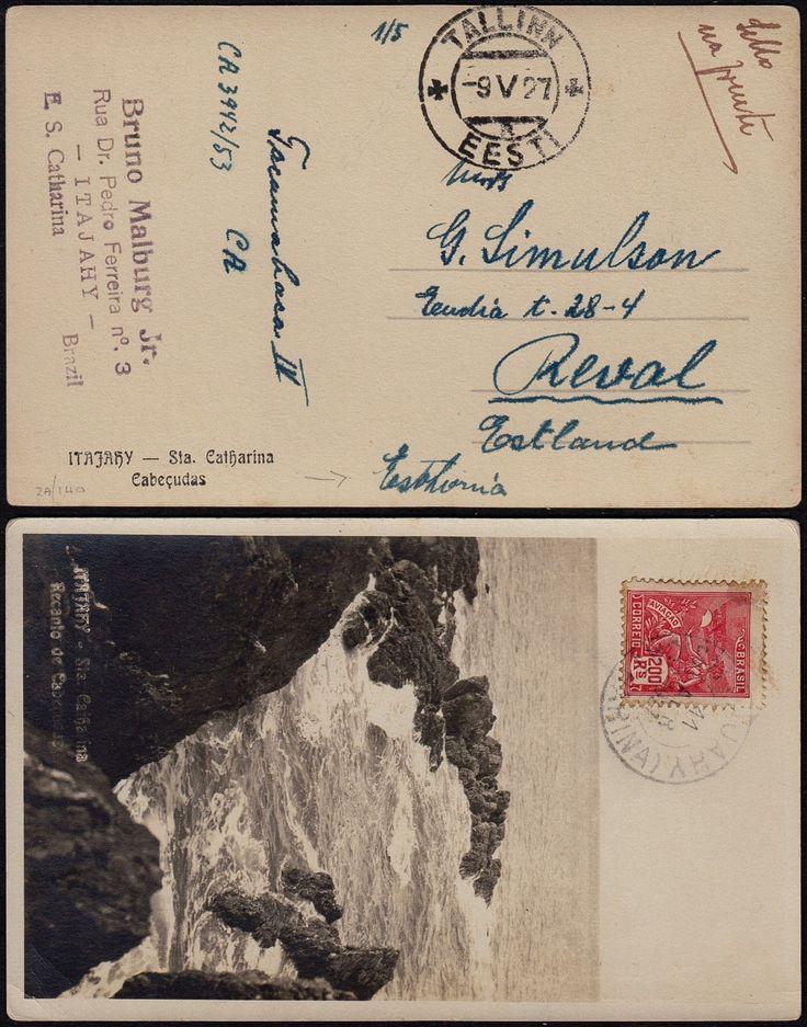 Brasil 1927 Postal Itajahy Para Tallinn Estonia | eBay
