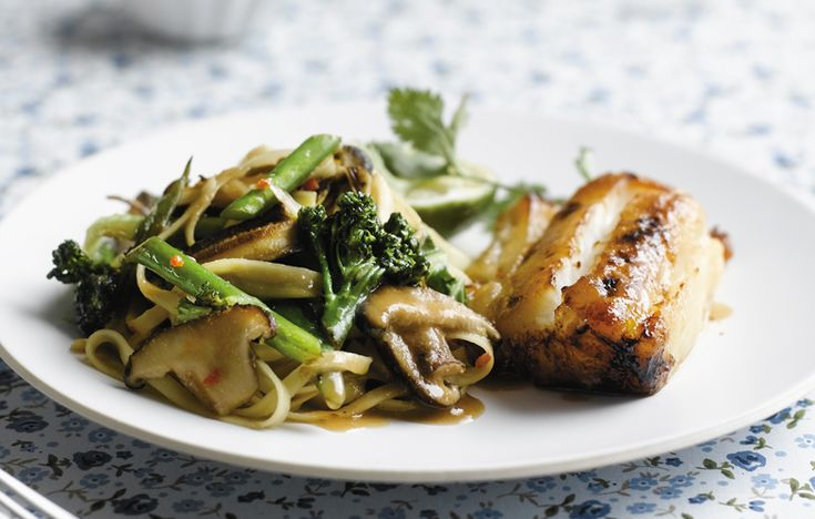 Miso cod with wok-fried tenderstem and shitake noodles