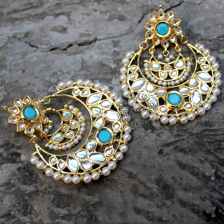 Our ANJINI EARRINGS (Turquoise)  by Indiatrend. Shop Now at WWW.INDIATRENDSHOP.COM