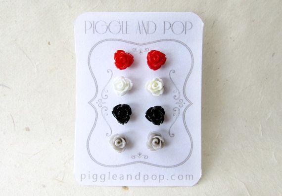 Tiny Rose Earrings in Red White Grey and Black. by PiggleAndPop #earrings #flowers #cute #handmade