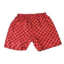 Organic cotton mens boxers with a red retriever print.   Product: Mens boxersConstruction Material: Organic cottonColor: RedCleaning and Care: Machine wash cold. Tumble dry low.