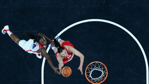Luca Ivankovic shoots for Croatia v United States during Women's Basketball on Day 1 of the Olympic Games at the Basketball Arena